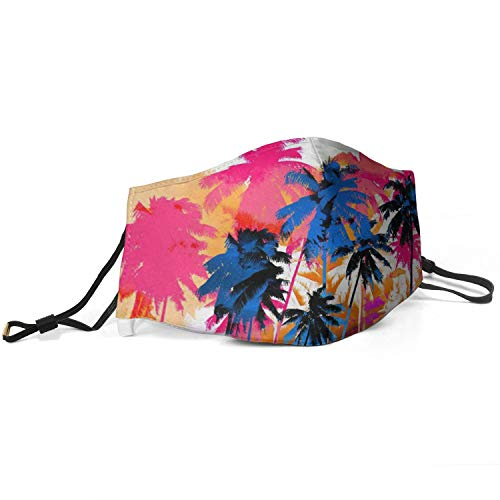 Women Men Face Covers with Adjustable Earloops Colorful Palm Tree Washable Face Masks