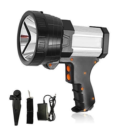 Super Bright Spotlight Rechargeable 6000 Lumen LED Flashlight Handheld Spotlight 10000mAh Rechargebale Spotlight Long Lasting Large Searchlight and Floodlight Camping Flashlight USB Output Charger