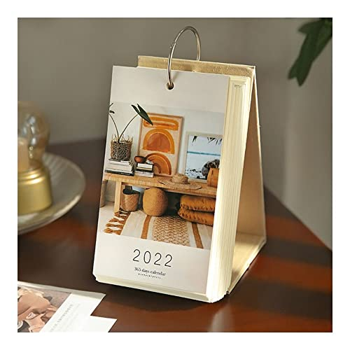 365 Days Calendar 2022, Vintage Art Small Desk Calendars Daily Flip Over Ring, Home Office Table Ornament, Page A Day, 10×17 cm