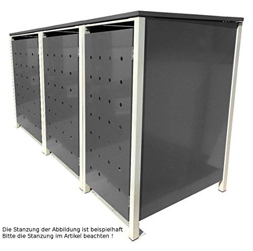 BBT@   Hochwertige Mülltonnenbox für 3 Tonnen je 240 Liter mit Klappdeckel in Silber / Aus stabilem pulver-beschichtetem Metall / Ohne Stanzung / In verschiedenen Farben sowie mit unterschiedlichen Blech-Stanzungen erhältlich / Mülltonnenverkleidung Müllboxen Müllcontainer