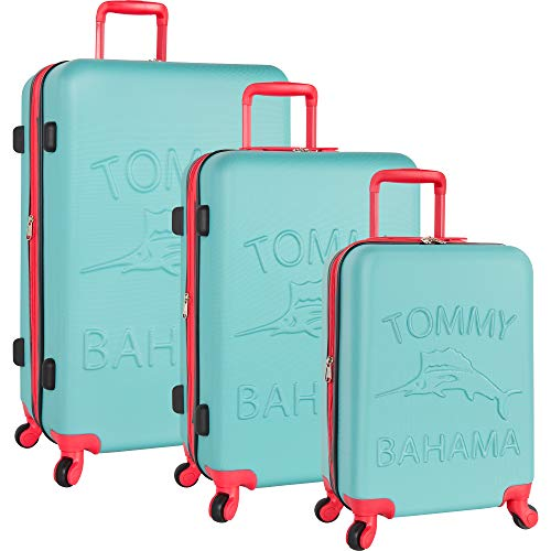 Tommy Bahama 3 Piece Spinner Luggage Set, Aqua/Pink