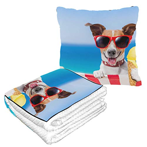Hundekissen mit Decke für kaltes Eis, warm, weich, 2-in-1-Kombination, Reisekissen mit Decke im Inneren, Camping, Autoausflüge, Flugzeugkissen für Reisen für jede Reise