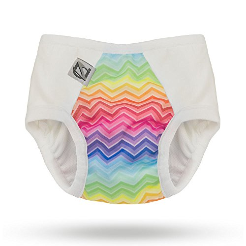 Pull-on Undies 2.0 Stretchy Waterproof Potty Training Pants and Toilet Training Underwear (Large, Rainbow Bright) by Super Undies