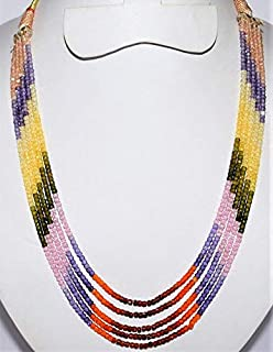 Jewel Beads Natural Beautiful jewellery 5 Strands AAA Quality Multi Zircon Faceted Rondelles, Ready To Wear Necklace, Multi Zircon Rondelles Beads 3mm, 13 to 15 Inch Long.Code:- JBB-28099