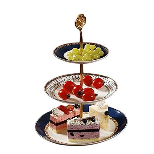 ZXvbyuff 3-Tier Bone China Scheibe Kuchen-Stand mit Gold-Dessert Kuchen-Standplatz - Gebäck Serviertablett Platter for Tee-Party, Hochzeit und Geburtstag - 5,9-10,2 Inch Scheibe