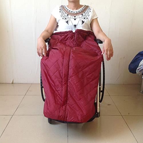 Schlupfsack Rollstuhl, Winterschlupfsack Rollstuhl Fleece Futter Wasserdicht Plüsch Rollstuhlsack Rollstuhl Fußsack Warm Schlupfsack für ältere Menschen,Rot