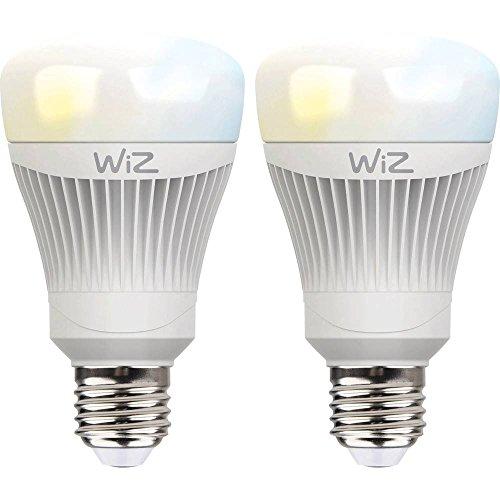 2-Pack bombillas LED WiZ inteligente con conexión WiFi y luz blanca. Regulable, 64.000 tonos de blanco. Funciona con Amazon Alexa y Google Home.