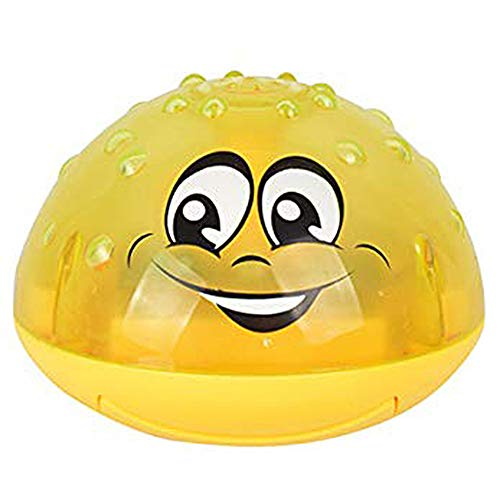 HuhuswwBin Sprinkler Ball Toy,Spray Water Baby Bath Toy,Floating Bath Toys with Light,Automatic Electric Induction Sprinkler Toy,Amphibious Interesting Light Music Toys,Birthday Gift for Kid Yellow