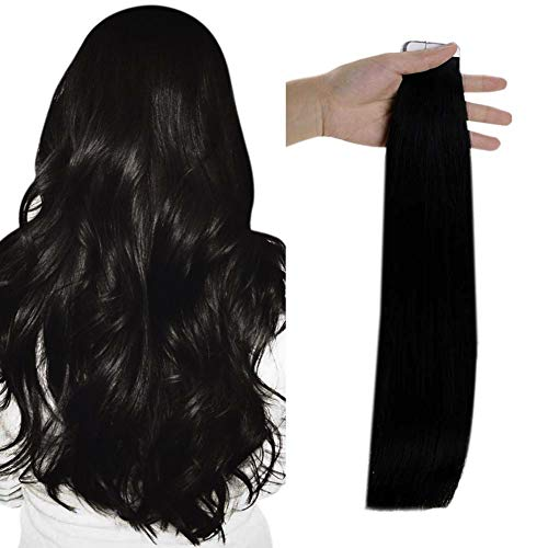 Full Shine Human Hair Tape In Hair Extensions 20 Inch Pu Tape in Remy Human Hair Extensions 50 Grams Color 1 Jet Black Seamless Human Hair Extension 20 Pcs Silky Straight Brazilian Hair