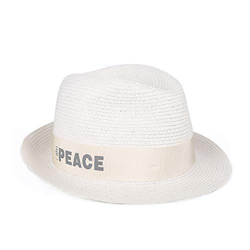 kyprx Buchstabe Mode Mode Brief Kleidung lässig wild Strohhut Damen Tag Lange Top Sonnenhut aus Elfenbein weiß