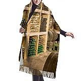 Foulard d'hiver classique pour femme,Noël de Thanksgiving bouteille de vin rouge images de baril de chêne, écharpe chaude et douce Chunky grande couverture Wrap châle foulards