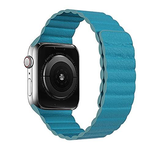 Hspcam Correa de cuero para Apple Watch 44 mm, 40 mm, 38 mm, 42 mm, correa magnética para iWatch Series 5, 4, 3, 2, SE 6 (42 mm o 44 mm, azul verde)