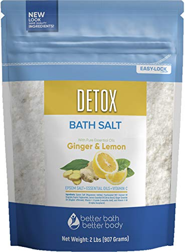 Detox Bath Salt 32 Ounces Epsom Salt with Natural Ginger and Lemon Essential Oils Plus Vitamin C in BPA Free Pouch with Easy PressLock Seal