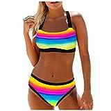 Regenbogen Bikini Sets Bademode Damen Zweiteilig Push Up Tanga mit Niedriger Taille Badeanzug Bikini Set Badebekleidung sexy Regenbogen Beachwear Bustier Sportliche Schwimmanzug Strapsen Beachwear