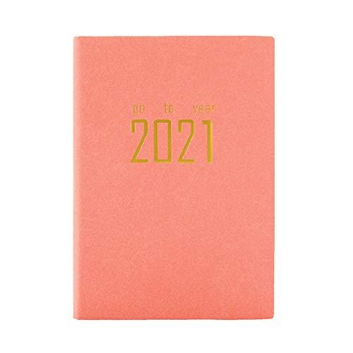 JPYH 2021 carnet A5 Année Planificateur Cahier Agenda Bureau D'affaires Agenda Scolaire Organisateur Couverture en Cuir Souple Personnel Tavail Quotidien Voyage(Rose)