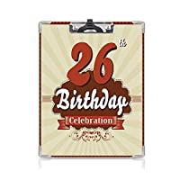 クリップボード A4 26歳の誕生日の装飾 かわいい画板 ヴィンテージの定型化されたポップなアートスタイルの記念日Artsy古いデザイン A4 タテ型 クリップファイル ワードパッド ファイルバインダー 携帯便利タンレッドバーディ