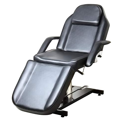 Massage Bed Black, Qivange Hydraulic Massage Table Beauty Salon Chair Therapy Tattoo Couch with Chrome Stable Base