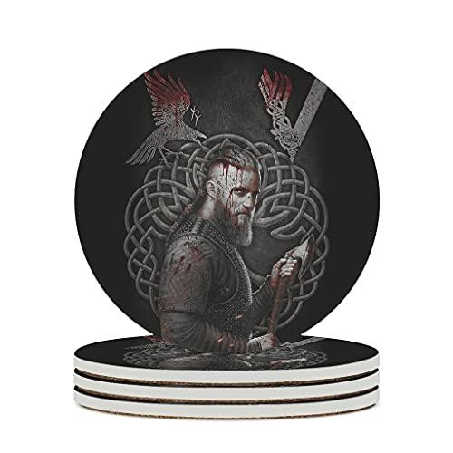 Posavasos de cerámica Viking Ragnar Raven With Valknut de primera clase de cerámica retro divertido, para tazas de té, se adapta al aire libre, color blanco, 4 piezas