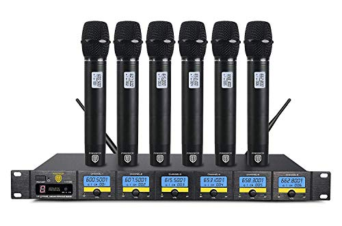 PRORECK MX66 6-Channel UHF Wireless Microphone System with 6 Hand-held Microphones Karaoke Machine for Party/Wedding/Church/Conference/Speech