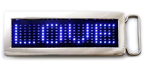 LED Gürtelschnalle mit blauer Laufschrift Buckle Gürtelschliesse