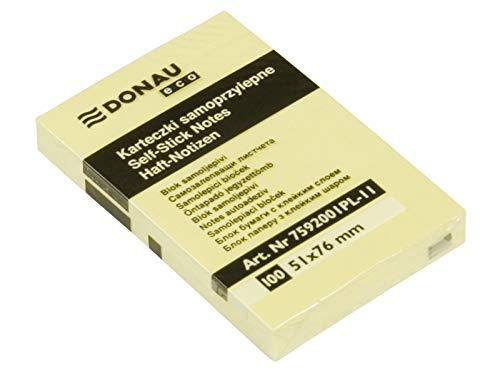 DONAU 7592001PL-11 Eco Würfel Haftnotizen Gelb Selbstklebende Sticky Notes 51X76mm, 1x100 Blatt für Büro Schule