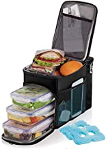 Lunch box For Men Insulated cooler Lunch bag w/ 3 compartment - Includes 3 Meal Prep Containers - Detachable Shoulder Strap + 2 Ice Packs. Strong SBS Zippers Great gifts For Men