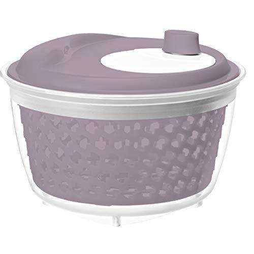 Rotho 1722402087 Fresh Salatschleuder, Kunststoff (PP) BPA-frei, Mauve/transparent, 4.5l