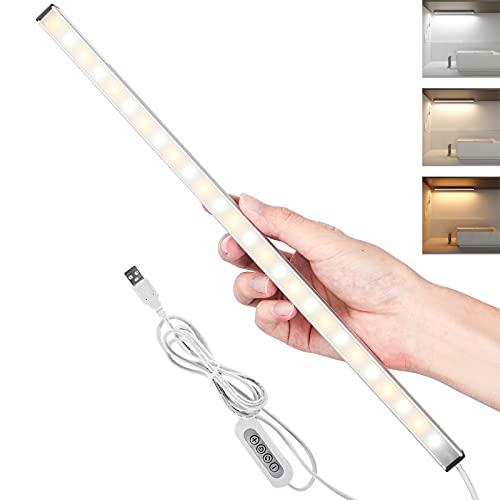 LED Unterbauleuchte Küche 37cm Schrankleuchten Dimmbar Schrankleuchte Lichtleiste,3 Farbtemperatur(Kaltweiß, Warmweiß, Neutralweiß) and Stufenloses Dimmen leuchte Schrankbeleuchtung