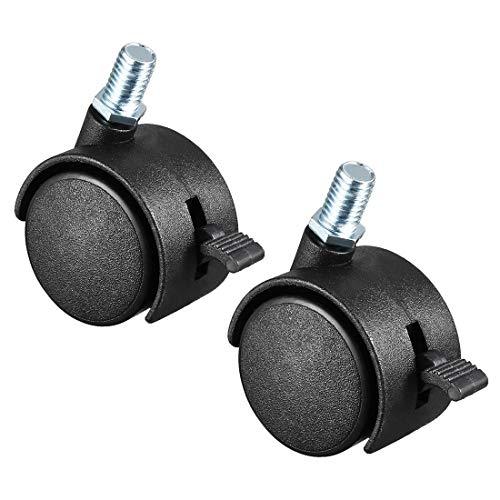 DyniLao 2 ruedas giratorias de 1,5 pulgadas de nailon con vástago roscado de 360 grados con freno, M8 x 15 mm, capacidad de 33 lb