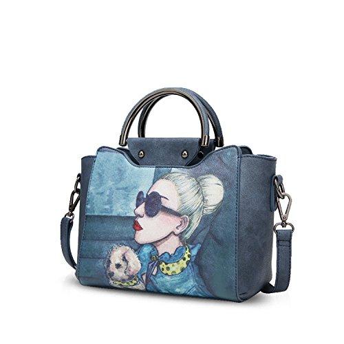 NICOLE&DORIS Elegante Tote Bolsos de Mano para Mujer Monederos Bolso Crossbody Mujer Bolso de Bandolera Bolsa PU Azul Marino