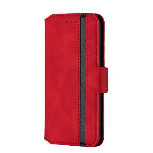 Lomogo Coque Galaxy S9 Portefeuille, Housse en Cuir avec Porte Carte Fermeture par Rabat Aimanté Antichoc Étui Case pour Samsung Galaxy S9/G960F - LORXU010210 Rouge