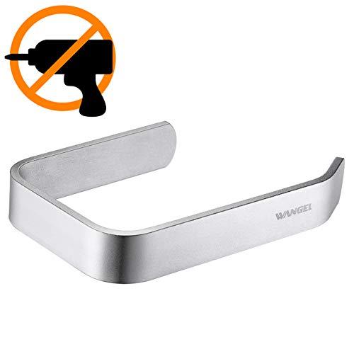 Wangel Toilettenpapierhalter ohne Bohren, Handtuchring Handtuchhalter, Patentierter Kleber + Selbstklebender Kleber, Aluminium, Matte Finish, Silber