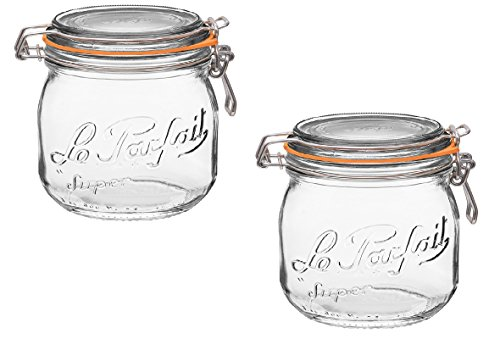Le Parfait French Glass Canning Jar with 85mm Gasket and Lid, .5 Liter (Pack of 2)