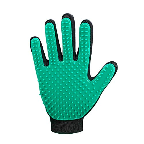DELOMO Pet Hair Remover Glove, Enhance Pet Grooming Glove with 255 Tips, Deshedding Glove for Dog and Cat, 1 Pack Right Hand Gentle De-Shedding Glove Brush, Green