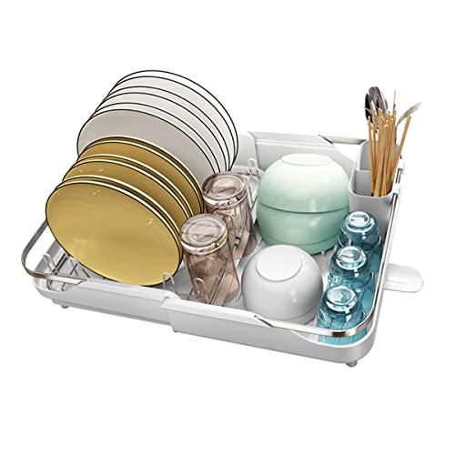 Rejilla para secar platos extensible de acero inoxidable (29-49 cm) - Rejilla para secar platos compacta con bandeja de goteo extraíble, soporte para cubiertos, tabla de drenaje para encimeras de coci