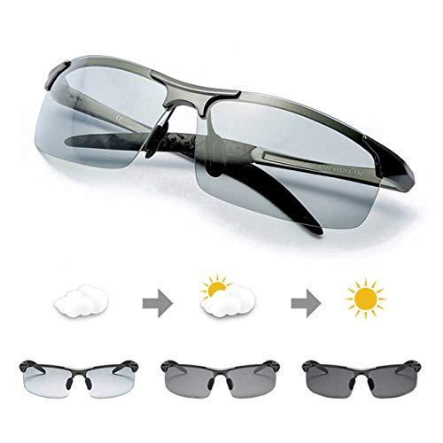 TJUTR Polarisierte Sonnenbrille Herren Photochromatisch Sports für100{2e48f2ac72ce23666fc3d0516f5b5c01361ef4f4dedca0a6cf1bf9d6b2b7cea9} UVA UVB Schutz Metallrahmen Leicht (Grau(sport)/Grau)