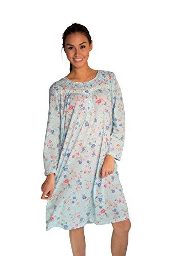 JOTW Long Sleeve Cotton Nightgown Dress with Flower-Print (649) (Blue, 2XL)