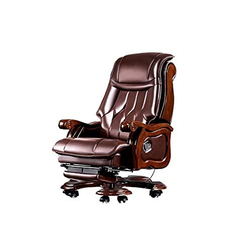 DISS Silla de masaje de la cafetería de la oficina del jefe, silla ergonómica, masaje de 9 puntos y reposapiés retractible, reclinable de la capa de vaca de la capa cabeza, silla de oficina marrón, 85