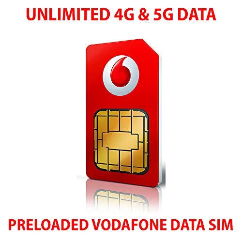 Tarjeta SIM de datos Vodafone precargada con datos 4G y 5G superrápidos ilimitados. Válido durante 30 días desde el primer uso