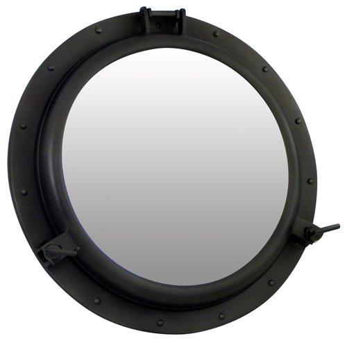 Générique spiegel patrijspoort openen, aluminium, mat zwart, diameter: 46 cm, aluminium, 4,6 x 4,6 x 8 cm
