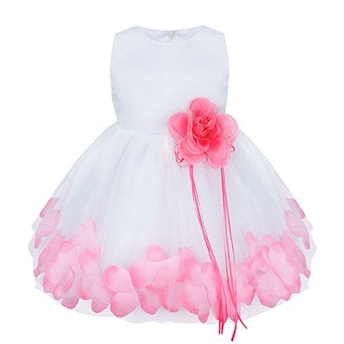 iiniim Bébé Fille Robe de Cérémonie Baptême Courte Robe de Danse Classique sans Manches 3D Pétales Broche Robe de Princesse Fêtê Taille Haute 3-24 Mois Rose 18-24 Mois