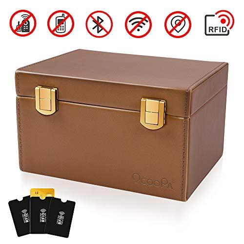 OCOOPA Faraday Box, Signal Blocker Case for Car Keys Cellphones Cards, Call & RFID Signal Blocking Box, Keyless Cars Security Anti Theft Large Storage Box (Brown)