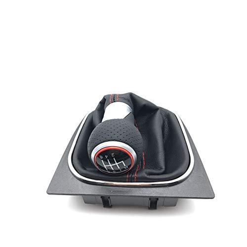 DUONIANHESJ 5 Velocidades 6 Rodillas De Cambio De Engranaje con La Perilla De Cuero Gaits Fit para VW Golf 5 V Golf 6 Vi Manual Manual Gratis Cabeza DE Cambio DE Cambio DE Caja DE Coche