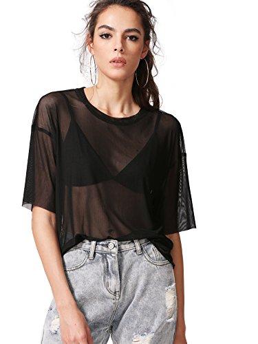 MakeMeChic Damen Sommer Halbarm Tops Durchsichtig Mesh Sheer Sexy T Shirt Bluse, Schwarz, Mittel