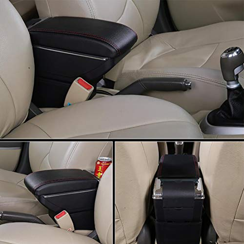 YJYWZH Car Armrest for KIA Picanto 2008-2019 Dual Layer Interior Center Consoles Black Storage Arm Rest