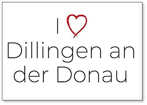 M&us Souvenirs - Ich Liebe Dillingen an der Donau, Kühlschrankmagnet (Design 1)