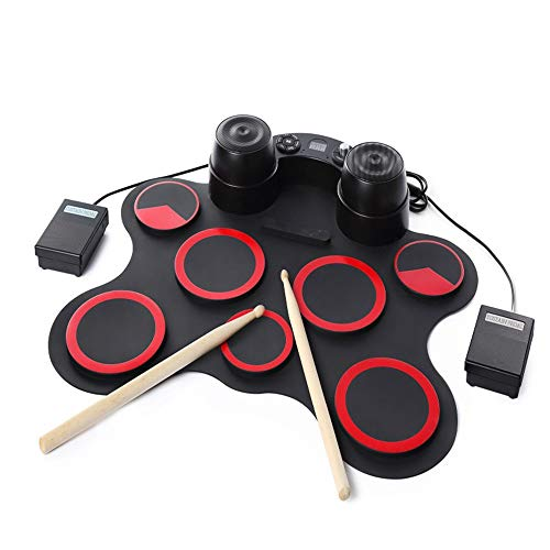 Lowest Price! Electronic Drum Set Practice Electronic Drum Set With Headphone Jack MIDI Portable Rol...