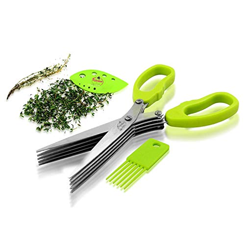 KITCHEN LIFE Stainless Steel Kitchen Herb Scissors - Multipurpose Professional 5 Blade Kitchen Shears With Herb Stripping Tool & Cleaning Brush   Perfect For Fresh Wet & Dry Herbs   Dishwasher Safe  