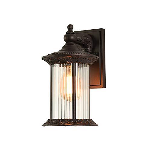 Wandlamp voor buiten, E27, vintage, retro, ronde look, waterdicht, IP23, buitenlamp, rustieke landhuisstijl, binnen, wandlamp, bruin, huis, tuin, terras, entree, balkon, brievenbus, huisnummers, verlichting