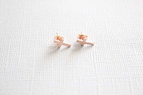 Women's Petite Handcrafted Rose Gold Filled Cross Religious Stud Earrings, 925k Sterling Tiny Silver Cross, Religious Jewelry by Handmade Studio